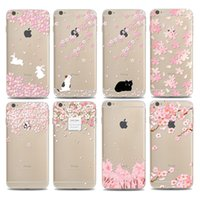 Wholesale Cherry Blossom Wallet - Transparent Case for iPhone 6 6s Plus 7 7 Plus 5S 5 SE Samsung S7 edge S8 Plus Soft Silicon TPU Flower Cherry blossoms Cover OPP Bag package