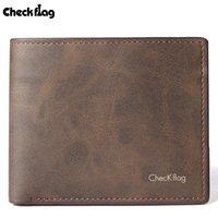 Wholesale Card Protector Wallet - Mens' PU Leather Wallet Card Holder Card Case Protector Short Bifold Purse Vintage Brown Plain Fashion