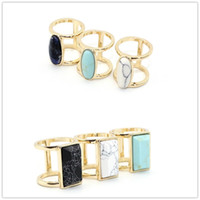 Fashion Scott Anneaux en pierre naturelle Oval Rectangle Quartz Turquoise Gem Crystal Gold Plaqué Anneaux pour les femmes