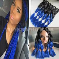 "Wholesale Super Cheap Ombre Hair - Cheap price 20"" super jumbo braiding black blue two tone synthetic hair ombre jumbo braid hair extension"