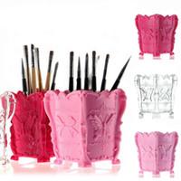 Wholesale Manicure Storage Cases - New 3 colors Nail Desktop Storage Case Polish Pen Brushes Box Container Manicure Nail Desktop Tool