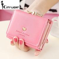 Wholesale Love Fashion Photo - New fashion women wallets rivet love short design three fold small wallet lady wallet coin purse