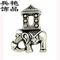 Wholesale Elephant Shaped Beads - Mascot house Elephant beads alloy Jewelry creative solid shape pendant wild animal Loose Beads Bracelet & Necklace Accessories