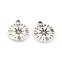 diy pusula takılar toptan satış-MIC 100pcs Antique Silver Zinc Alloy Compass charm pendants 13.5x16mm DIY Jewelry