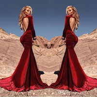 Wholesale Gold Velvet Drapes - Sexy Open Back Saudi Arabic Burgundy Mermaid Velvet Evening Dresses 2018 Long Sleeves Formal Party Prom Gowns Special Occasion Gowns BA4442