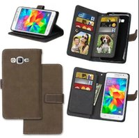 Wholesale Vintage Cases For Galaxy Grand - Retro Vintage multi-function 2 in 1 matt touch wallet card flip leather case cover for Samsung Galaxy Grand Prime G530 G5308