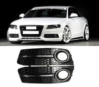 Wholesale Audi A4 Front Bumper - For Audi A4 B8 2009-2011 STANDARD Front Bumper 1 Pair Glossy Black Front Fog Lights Grill Foglamps Grille Cover