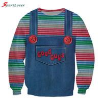 Wholesale Denim Hoodie Women - Wholesale-Sportlover Women men cute stripe sweatshirts harajuku Denim strap style Jumper good guys chucky 3d sweatshirt pullovers hoodies