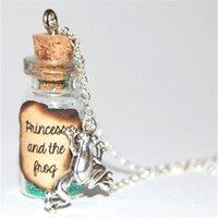 ingrosso rane fatte a mano-12pcs / lot principessa e la collana di vetro handmade della rana collana principe e la collana d'argento del messaggio della rana