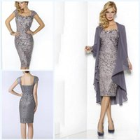 Hot selling Hot Elegant Sweetheart Mothers Dresses 2017 Knee Length Sheath Cap Sleeve Lace Mother Of the Bride Groom Dresses with Jacket Moms Gowns