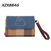 Wholesale Grid Bag For Women - Wholesale- Cartoon Cute Rabbit Grid Coin Purse Women Zero Wallet Female Kawaii Big Capacity Handbag Zipper storage Bag For Girls Children