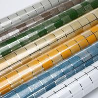 decoração de azulejos de parede de cozinha venda por atacado-Cozinha adesivo de parede pvc telha do mosaico papel de parede papel de parede paredes do banheiro à prova d 'água adesivos papéis de parede para cozinha home decor 45 cm * 5 m / roll