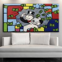 ingrosso dipinti ad olio-ZZ274 Alec Monopoly Money Paintings su tela Immagini di parete moderne per soggiorno Home Decor No Frame Oil Painting