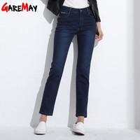 Wholesale Dark Blue Jeans For Women - Women Jeans Large Size High Waist Autumn 2017 Blue Elastic Long Skinny Slim Jeans Trousers For Women 27-38 Size Y323