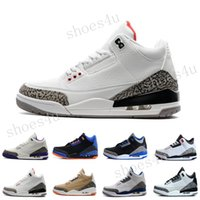 Super qualité Retro 3 III Black White Cat Grey Elephant print Basketball shoes homme 2017 Cheap College Grey 3s OKC Home Sneakers Taille 8-12