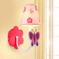 appliques murales pour enfants achat en gros de-Simple lampe murale chambre enfant lampe enfants créatifs lumière rose papillon romantique led lampe de mur livraison gratuite