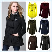 Wholesale Girls Winter Jacket Wool - 9 Colors Women's Fashion Jacket Double-breasted Wool Casual Coat Hoodies Autumn Winter Girl Warm Plus Size S-XXXXXL CL042