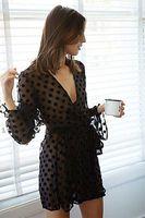 Wholesale Polka Dot Temptations - Wholesale- Sexy Women Lingerie Temptation Nightdress Lace Nightgown Sleepwear Robes S M L