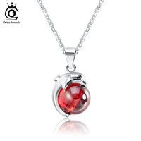 Wholesale 925 Sterling Silver Dolphin Necklaces - ORSA JEWELS Fashion 925 Sterling Silver Red Natrual Stone Dolphin Pendant Necklaces for Women Genuine Silver Jewelry Gift SN02
