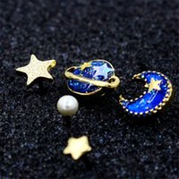 Wholesale Moon Star Earring - 1 set Blue Star Moon And Planet Rhinestone Earring stud Post
