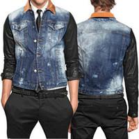 Wholesale Denim Jacket Leather - Splice Leather Denim Jacket Men Corduroy Collar Slim Fit Fading Vintage Jeans Outerwear Coat Cool Guy