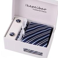 Wholesale tie clip cufflinks box - Ikepeibao New Men Tie Business Casual Neck ties Set Hanky Cuff links Polyester Blue Striped Classic Dress Tie Set Gift Box,Men Tie
