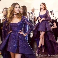 Wholesale Evening Detailing - Stunning Zuhair Murad Evening Dresses 2017 High Low Long Sleeve Prom Cocktail Dress Sparkly Beads Detail Arabic Occasion Party Gowns