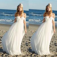 Wholesale Designer Wedding Gowns Chiffon - 2017 Cheap Summer Beach Wedding Dresses Designer Western Off The Shoulder A Line Chiffon Bridal Gowns Custom Made