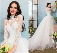 Wholesale Elegant Romantic Sexy Wedding Dress - Simple Elegant Romantic High Neck Sheer Long Sleeves Wedding Dresses 2017 Lace Appliques Illusion Back Tulle Bridal Gowns 2018 New Arrival
