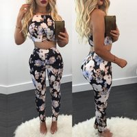 Wholesale Short Pant Jumpsuits For Women - newest jumpsuits for women jumpsuits Women's Two Piece Pants spahetti strap Floral printed Panelled top cloth ankle-length pants for spring