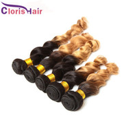 Wholesale Cheap Colored Hair Dye - Ombre 1B 27 Hair Extensions Mink Brazilian Loose Wave 3 Bundles Cheap Colored Two Tone Honey Blonde Curly Brazillian Human Hair Weave Sale