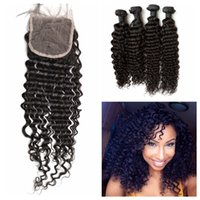 Wholesale russian curly virgin hair - Deep Wave Curly Lace Closure Bundles 5pcs Lot Unprocessed Human Hair Mongolian Virgin Hair Weaves 8-30inch G-EASY