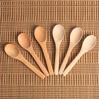 Wholesale kids kitchen utensils for sale - Group buy Mini Wooden Spoon Natural Child Deep Mouth Honey Ice Cream Kitchen Teaspoon Condiment Utensil Coffee Spoons Kids Tableware Tool qj F R