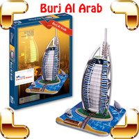 Wholesale Burj Al Arab 3d Puzzle - New Year Gift Dubai Burj Al Arab 3D Puzzle Hotel Puzzle Dhow Sail Frame 7-star Building Model DIY Toy Luxury Collection Present
