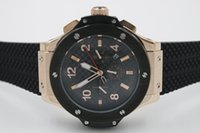 Wholesale Back Glass Black - 2017 Classic Old Style Luxury Brand Automatic Movement Watch Men Glass Back Big Bang Black Dial Rubber Band Male Clock Montre Homme