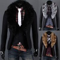 Wholesale Korean Suit Men Green - Fashion New Korean Men's Slim Fashion Two buckle Fur collar Coattails suit Jacket Coat Outerwear