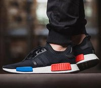 Wholesale Running Kicks - NMD Runner R1 Primeknit OG Black Triple black White Nice Kicks Circa Knit Men Womens Running Shoes Sneakers Classic sport Shoes eur 36-45