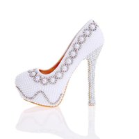 Wholesale Imitation Designer Shoes - 2017 Designer Pearl Shoes in White and Ivory Wedding Party High Heel Shoes with Silver Rhinestone Luxurious Prom Pumps Plus Size