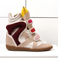 Wholesale High Heel Sneakers Yellow - 2017 High Top ankle boots heels women Breathable casual shoes height increased wedges shoes mixed color sneakers