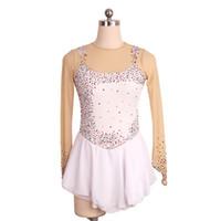 moda kızlar kısa elbise toptan satış-Moda Stil Renkli Boncuklu Kızlar Pateni Elbise Buz Jewel Boyun Çizgisi Kısa Rekabet Elbise Aç Geri