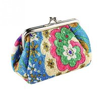 Wholesale Cute Pillow Case Standard - Hot Sale Fashion Cute Embroidered Case Wallet Card Keys Pouch Coin Purse Vintage Flower Bags For Women