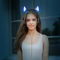 kulaklık kedisi toptan satış-2017 yeni tasarım katlanabilir aydınlık controlable led kablosuz bluetooth stereo kulaklık spor kulaklık ile kedi kulak işık tasarım