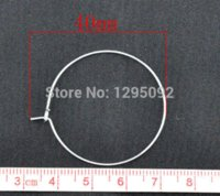 100Pcs Prata De Prata Alloy Wine Glass Charms Anéis / Brincos Wire Hoops DIY Jóias Findings Componente Atacado 40x35mm