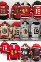 Wholesale Order Mens Gold - Hot Sale Mens Cheap Chicago Blackhawks 19 Jonathan Toews Old Time Best Quality 100% Embroidery Logo Ice Hockey Hoodies Accept Mix Order
