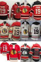 blackhawks hoodies toptan satış-Sıcak Satış Mens Ucuz Chicago Blackhawks 19 Jonathan Ileri Eski Zaman En İyi Kalite 100% Nakış Logosu Buz Hokeyi Hoodies Mix Sipariş Kabul