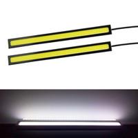 gün drl toptan satış-100% Su Geçirmez 2 ADET 17 CM Ultra-ince COB Çip LED Gündüz farı DRL Sis araba ışıkları araba styling araç günü ışıkları