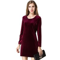 Wholesale Velvet Dress Ladies - Hot Selling Dresses for Women Clothes New Celebrity Loose A-line O-neck Long Sleeve Dress High Quality Gold Velvet Ladies Casual Dress CK107