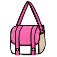 çanta tuval 3d toptan satış-Wholesale-2016 sıcak satış kadınlar ve erkekler gismo karikatür çanta 2d 3d messenger çanta uzayda taşımak omuz çantaları Tuval kaliteli çantalar