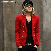 Wholesale Cool Slim Men Blazer - British Fashion Men's Golden Buttons Slim-fit Blazer Red White Black Cool Short Design T-stage Runway Jacket Suit Nightclub stage personalit
