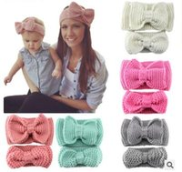 Wholesale Crochet Models - Manual knitting wool Crochet bow hair lead the circumference hair accessories model of ms parent-child warm winter caps